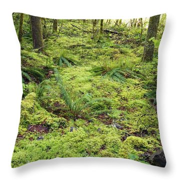 Green Foliage On The Forest Floor Throw Pillow by Craig Tuttle