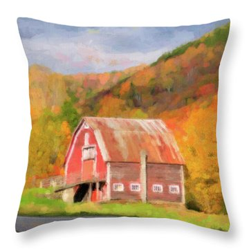 Green Mountains Barn Throw Pillow by Betty LaRue