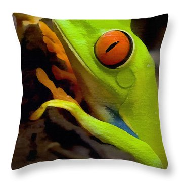 Green Tree Frog Throw Pillow by Sharon Foster