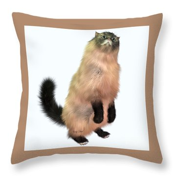 Grey Tabby Cat Throw Pillow by Corey Ford