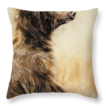 Grizzly Bear 2 Throw Pillow by Odile Kidd
