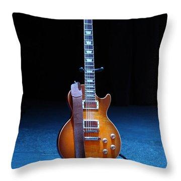 Guitar Blue Throw Pillow by Lauri Novak