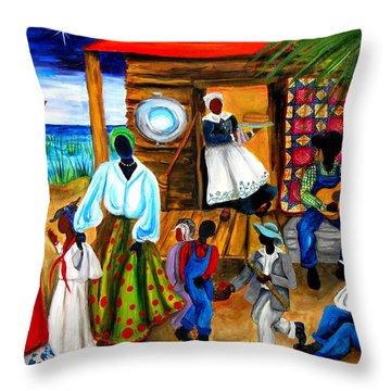 Gullah Christmas Throw Pillow by Diane Britton Dunham
