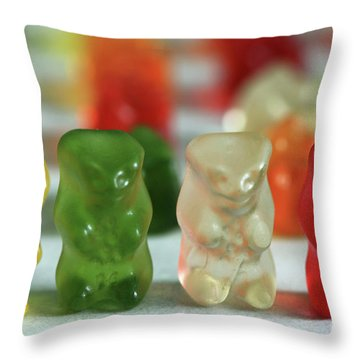 Gummy Bear Meeting Throw Pillow by Tracy  Hall