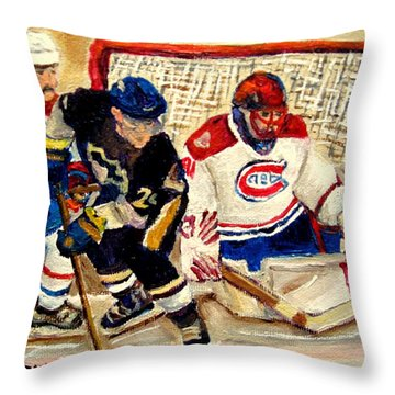 Halak Catches The Puck Stanley Cup Playoffs 2010 Throw Pillow by Carole Spandau