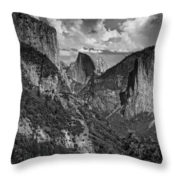 Half Dome And El Capitan In Black And White Throw Pillow by Rick Berk