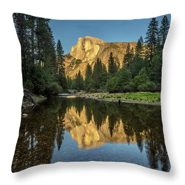 Half Dome From  The Merced Throw Pillow by Peter Tellone
