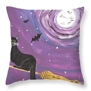 Halloween Flying  Black Cat Throw Pillow by Jeffrey Koss