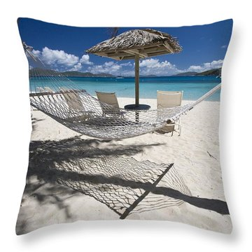 Hammock On The Beach Throw Pillow by Hammock on the beach