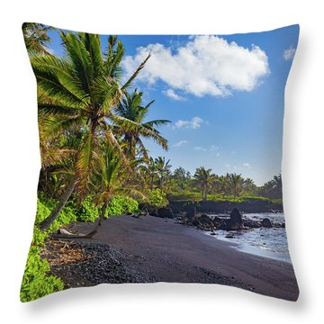 Hana Bay Palms Throw Pillow by Inge Johnsson