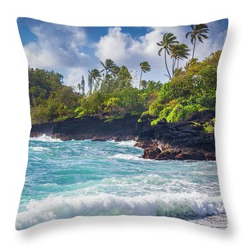 Hana Bay Waves Throw Pillow by Inge Johnsson
