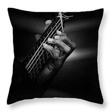 Hand Of A Guitarist In Monochrome Throw Pillow by Avalon Fine Art Photography
