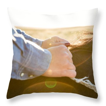 Hands On The Reins Throw Pillow by Todd Klassy