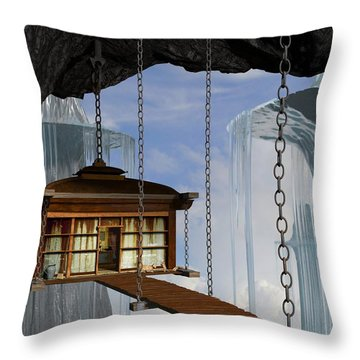 Hanging House Throw Pillow by Cynthia Decker