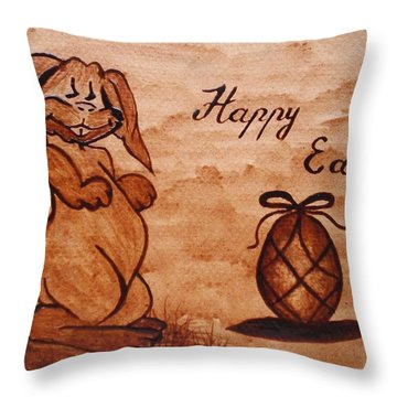 Happy Easter Coffee Painting Throw Pillow by Georgeta  Blanaru