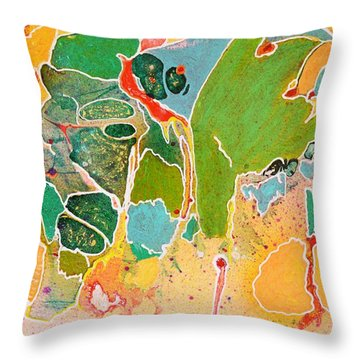 Happy Spirits Throw Pillow by Marianne Davidow