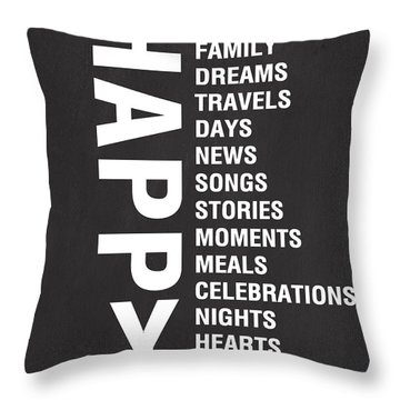 Happy Things Throw Pillow by Linda Woods