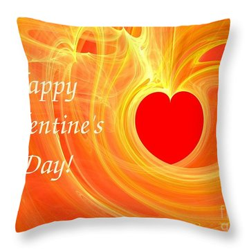 Happy Valentine Day Fractal Design Greeting Card Throw Pillow by Yali Shi