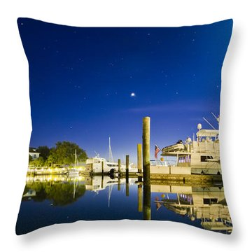 Harbor Town Yacht Basin Light House Hilton Head South Carolina Throw Pillow by Dustin K Ryan