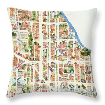 Harlem From 110-155th Streets Throw Pillow by Afinelyne