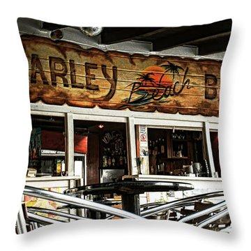 Harley Beach Bar Throw Pillow by Jasna Buncic