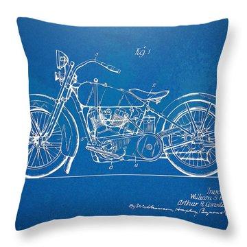 Harley-davidson Motorcycle 1928 Patent Artwork Throw Pillow by Nikki Marie Smith