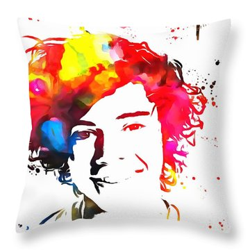 Harry Styles Paint Splatter Throw Pillow by Dan Sproul