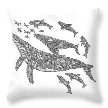 Hawaiian Humpbacks Throw Pillow by Carol Lynne