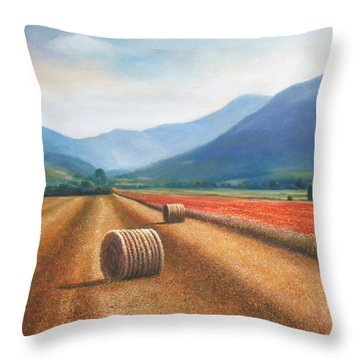 Haybales In Italy Throw Pillow by Ann  Cockerill