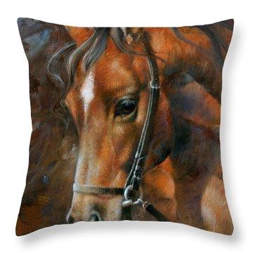 Head Horse Throw Pillow by Arthur Braginsky