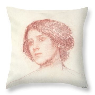Head Of A Girl Throw Pillow by John William Waterhouse