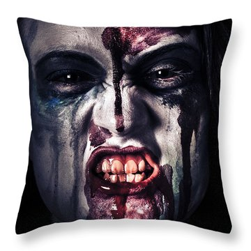 Head Shot On A Pure Evil Zombie Girl Throw Pillow by Jorgo Photography - Wall Art Gallery