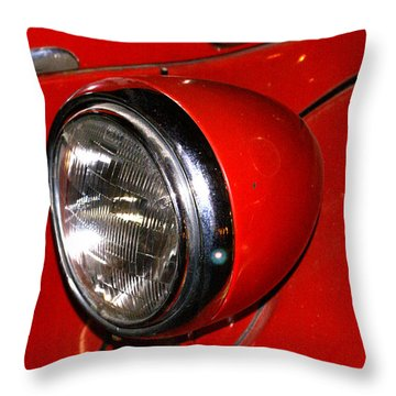 Headlamp On Antique Fire Engine Throw Pillow by Douglas Barnett