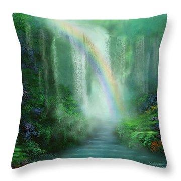 Healing Grotto Throw Pillow by Carol Cavalaris
