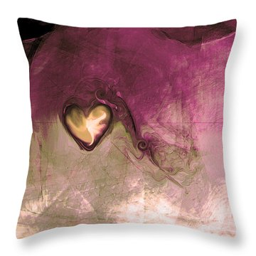 Heart Of Gold Throw Pillow by Linda Sannuti