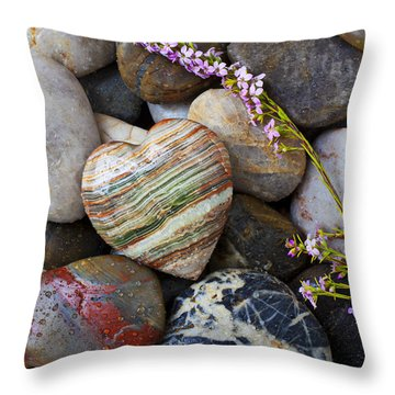 Heart Stone With Wild Flower Throw Pillow by Garry Gay