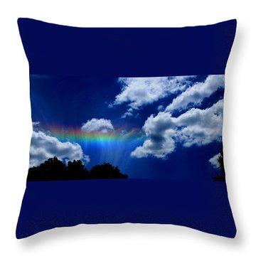 Heavens Rainbow Throw Pillow by Linda Sannuti
