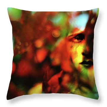 Her Autumn Eyes Throw Pillow by Rebecca Sherman