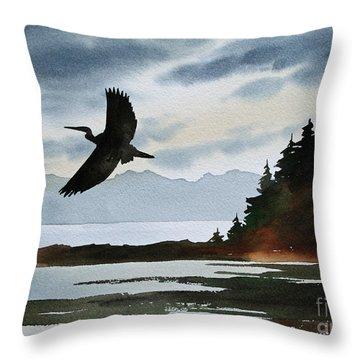 Heron Silhouette Throw Pillow by James Williamson
