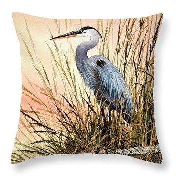 Heron Sunset Throw Pillow by James Williamson