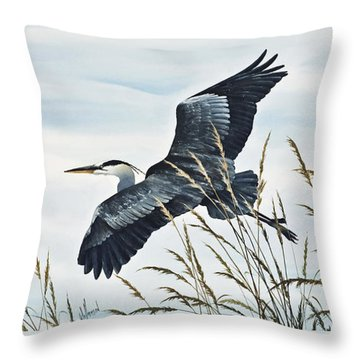 Herons Flight Throw Pillow by James Williamson