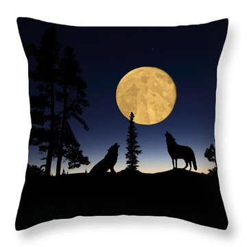 Hidden Wolves Throw Pillow by Shane Bechler