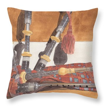 Highland Pipes Throw Pillow by Ken Powers