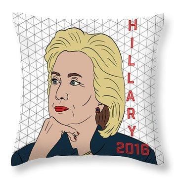 Hillary Clinton 2016 Throw Pillow by Nicole Wilson