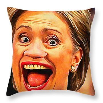 Hillary Clinton Throw Pillow by Anthony Caruso