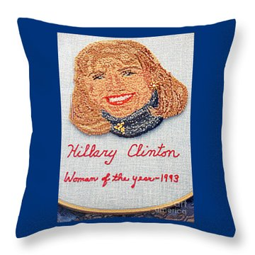 Hillary Clinton Woman Of The Year Throw Pillow by Randall Weidner