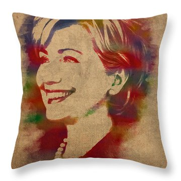 Hillary Rodham Clinton Watercolor Portrait Throw Pillow by Design Turnpike