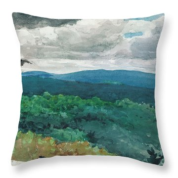 Hilly Landscape Throw Pillow by Winslow Homer