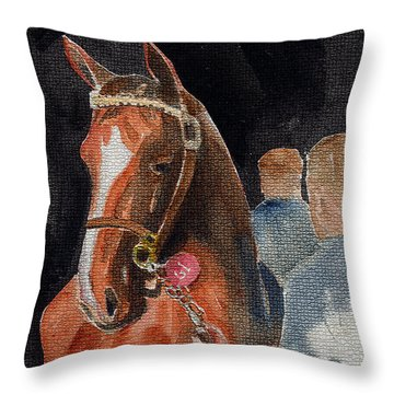 Hip No. 61 Chestnut Colt Throw Pillow by Arline Wagner