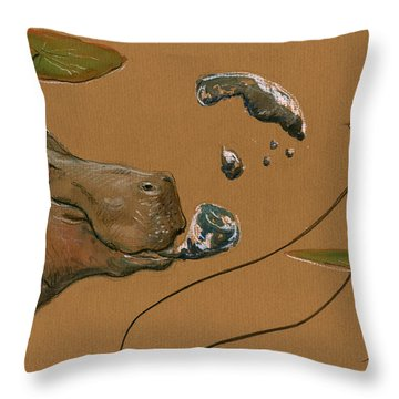 Hippo Bubbles Throw Pillow by Juan  Bosco